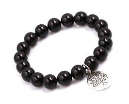 Black Agate Energy Beads Bracelet; Men Woman Buddha Prayer Silver Tree of Life - $19.95