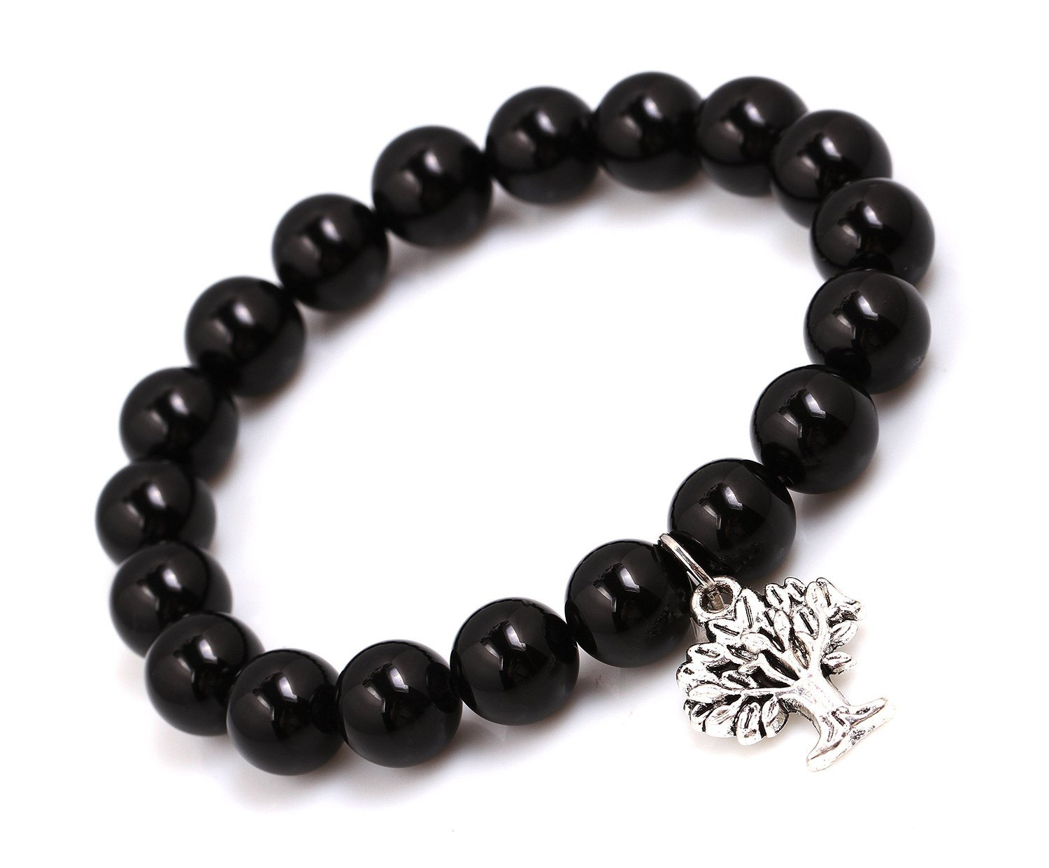 Primary image for Black Agate Energy Beads Bracelet; Men Woman Yoga Buddha Prayer Silver Wish Tree