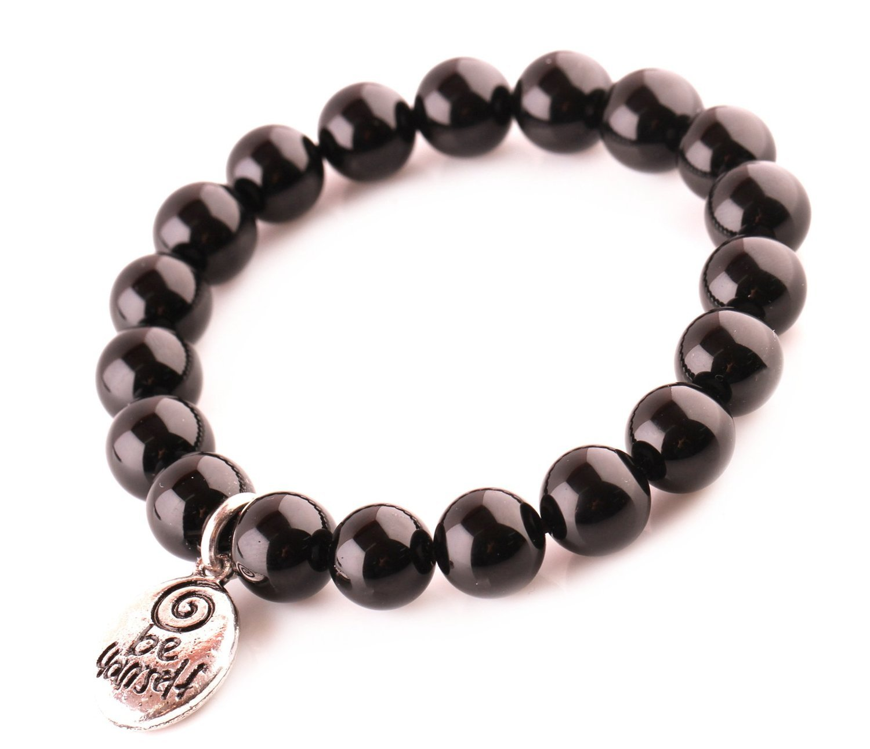 "Black Agate ""Be Yourself"" Beads Bracelet; Men Woman Buddha Prayer Inspiration"
