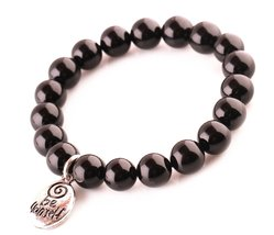 "Black Agate ""Be Yourself"" Beads Bracelet; Men Woman Buddha Prayer Inspir... - $24.95"