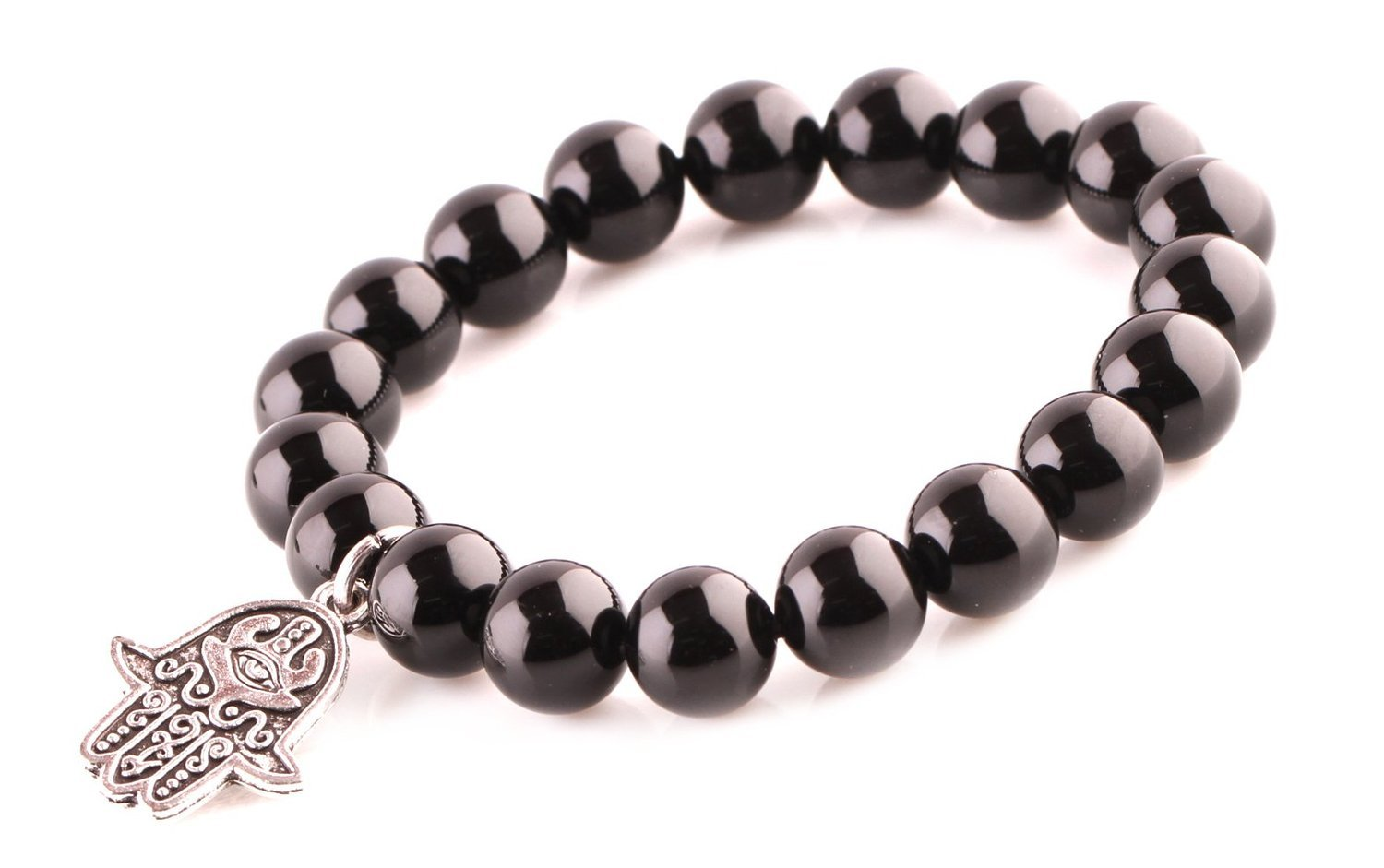 Primary image for Black Agate Energy Beads Bracelet; Men Woman Buddha Prayer Silver Hamsa Hand