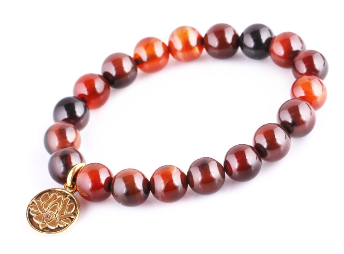 Dream Agate Energy Beads Bracelet; Men Woman Buddha Prayer Golden Lotus