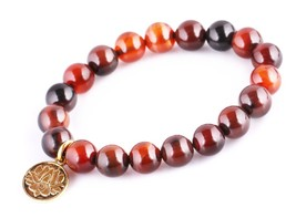 Dream Agate Energy Beads Bracelet; Men Woman Buddha Prayer Golden Lotus - $19.95