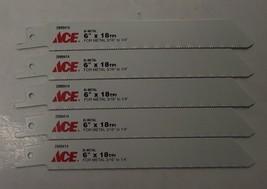 "ACE 2099414 6"" x 18TPI Bi-Metal Metal Cutting Recip Saw Blade 5pc Swiss - $4.50"