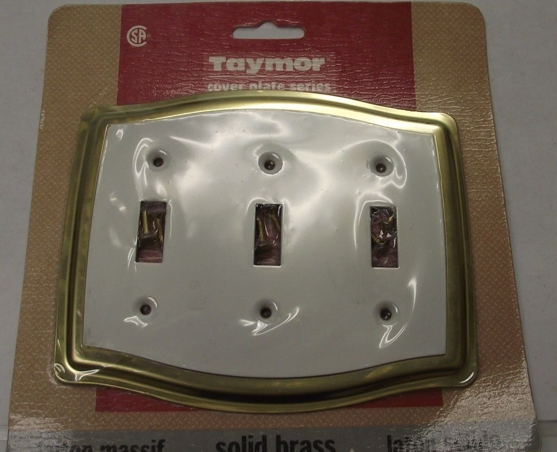 Primary image for Taymor 02-D7535W Solid Brass & White Triple Switch Cover