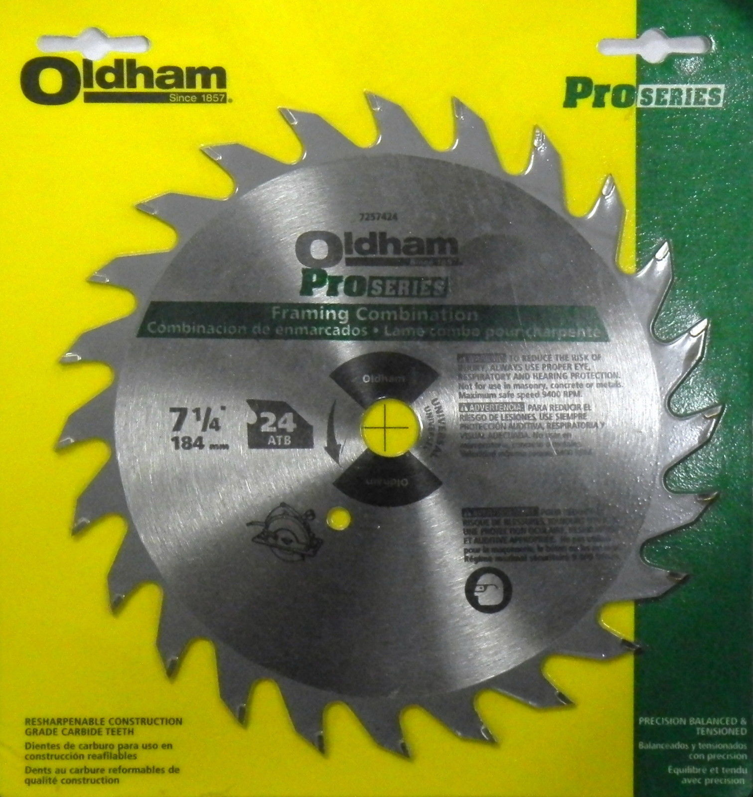 "Primary image for Oldham 7257424 Pro Series 7-1/4"" x 24 ATB Carbide Saw Blade USA"
