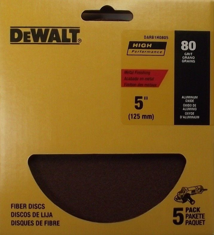 Primary image for DEWALT DARB1H0805 5-Inch AO Fiber Resin Disc 80G 5-pack