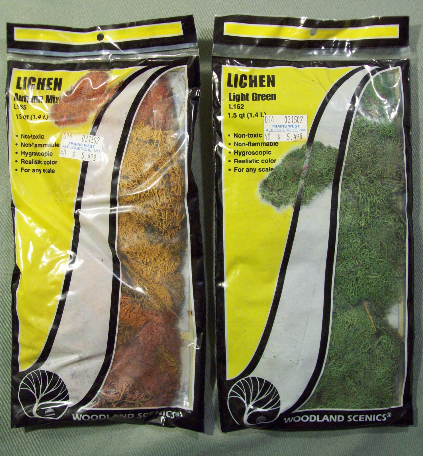 Primary image for 2 PACKS NOS WOODLAND SCENICS AUTUMN MIX LICHEN L165 & LIGHT GREEN LICHEN L162