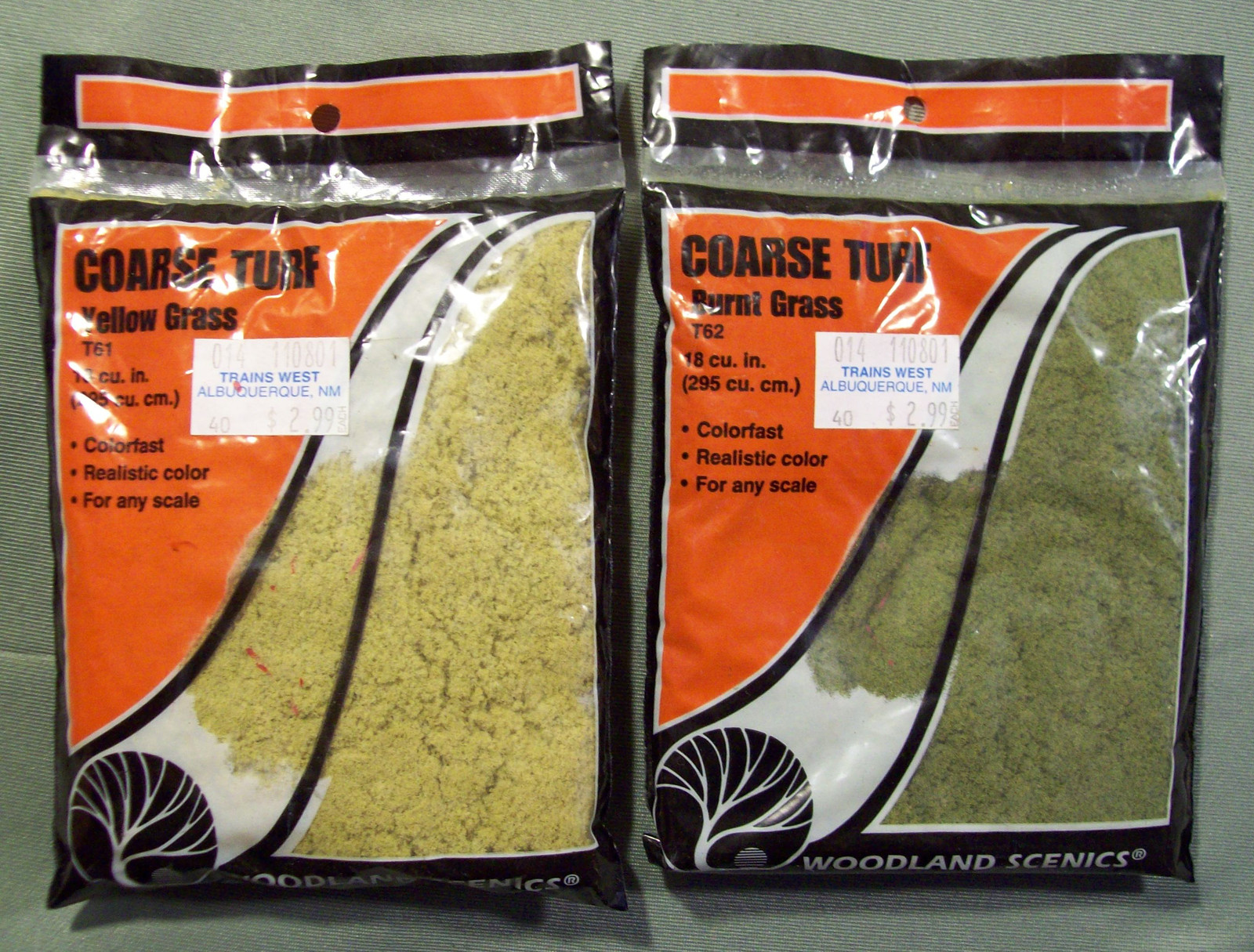 Primary image for 2 PACKS NOS WOODLAND SCENICS COARSE TURF - YELLOW GRASS T61 & BURNT GRASS T62