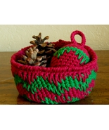 Burgundy Red & Green Basket - Geometric Pattern... - $12.00