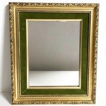"""Mirror Gold Wood Green Velvet 12.5"""" Vtg Mid Century Gilt Wall Hang - $39.59"""