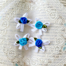 25 Blue Roses Ribbon Bows,Craft Flowers,Embellishment,DIY Craft,Sewing S... - $7.90