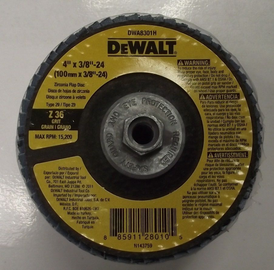 "Primary image for Dewalt DWA8301H 4"" x 3/8""-24 Z36 Grit Flap Disc 5pcs."