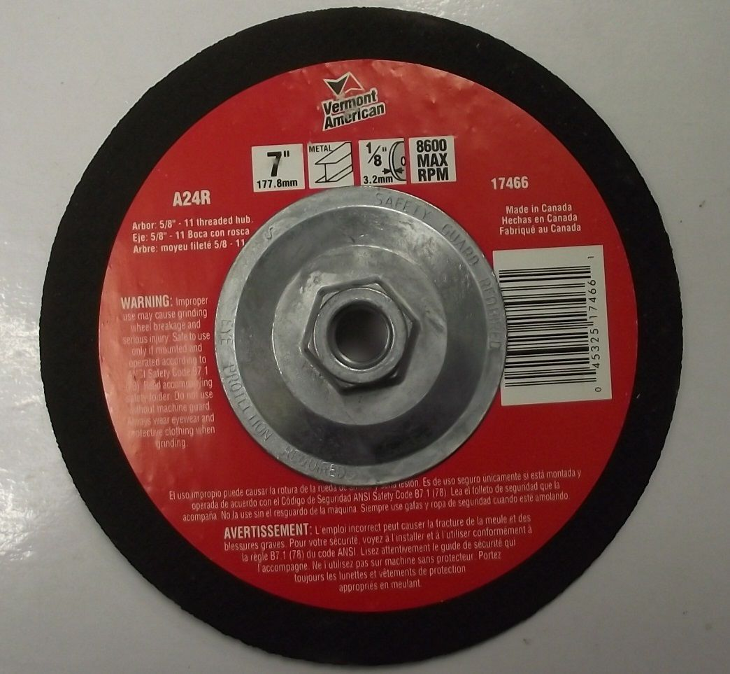 "Vermont American 17466 7"" x 1/8"" x 5/8""-11 Metal Abrasive Blade Canada - $2.25"