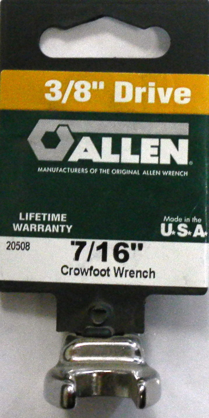 "Primary image for Allen 20508 7/16"" Crowfoot Non-Ratcheting Wrench 3/8"" Drive USA"