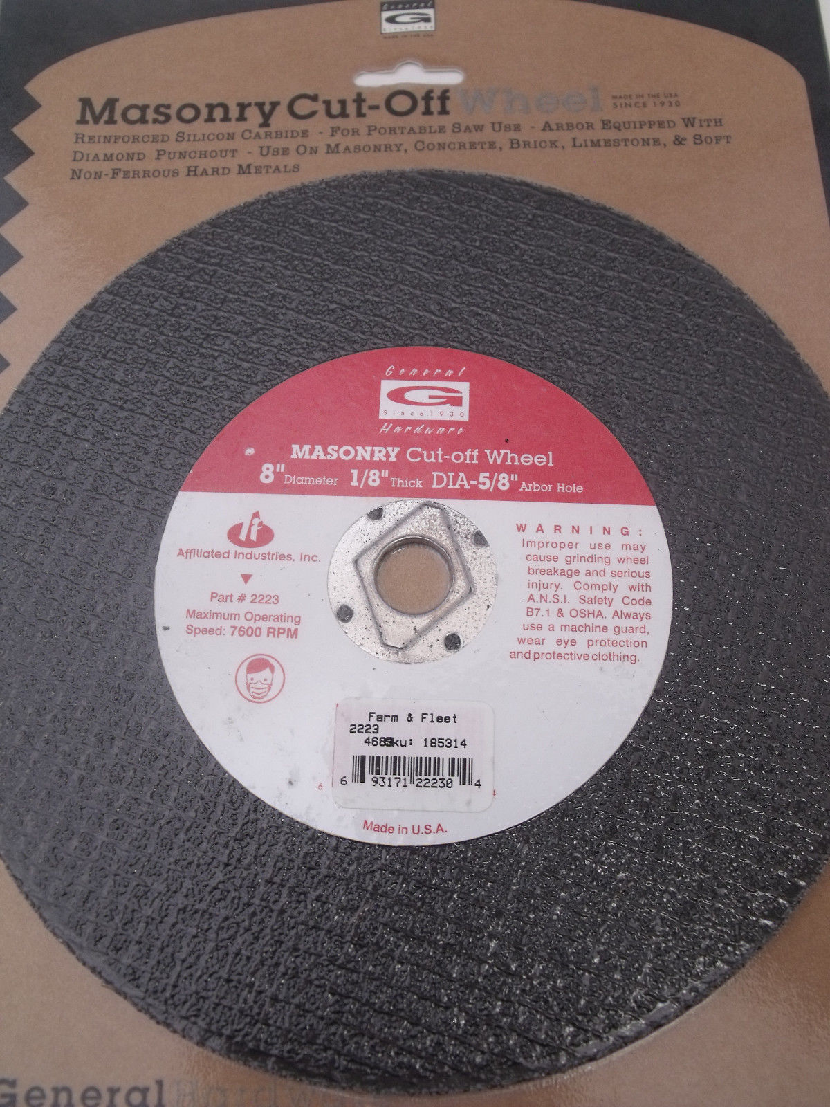 "Primary image for General 8"" x 1/8"" Masonry Cut-Off Grinding Wheel 5/8 Arbor W/Knockout  USA #2223"