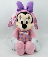 "Disney Minnie Mouse 20"" Plush Easter Bunny Pink Polka Dot Rabbit Purple Bow - $25.40"