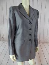 Linda Allard Ellen Tracy Blazer 4 Petite Black Specked Wool Rayon Nylon Blend  - $68.31