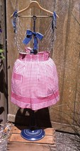 Vtg. Cheery Red Gingham Handmade Half Apron Pleated Waist Band Red Cross... - $18.98
