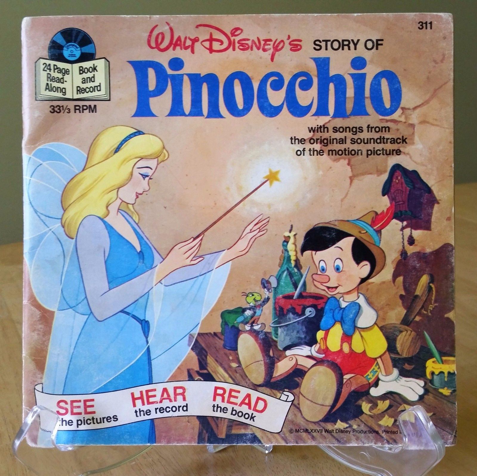 Primary image for WALT DISNEY Story of Pinocchio SEE HEAR READ 7 inch BOOK  33 1/3 RPM 1977 311