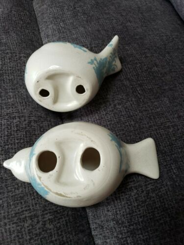 PAIR CHUBBY POTTERY BIRD FIGURINES FARMHOUSE RUSTIC STYLE CREAM TURQUOISE BLUE