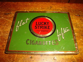 Vintage Lucky Strike Flat Fifties Cigarette Tin... - $13.89