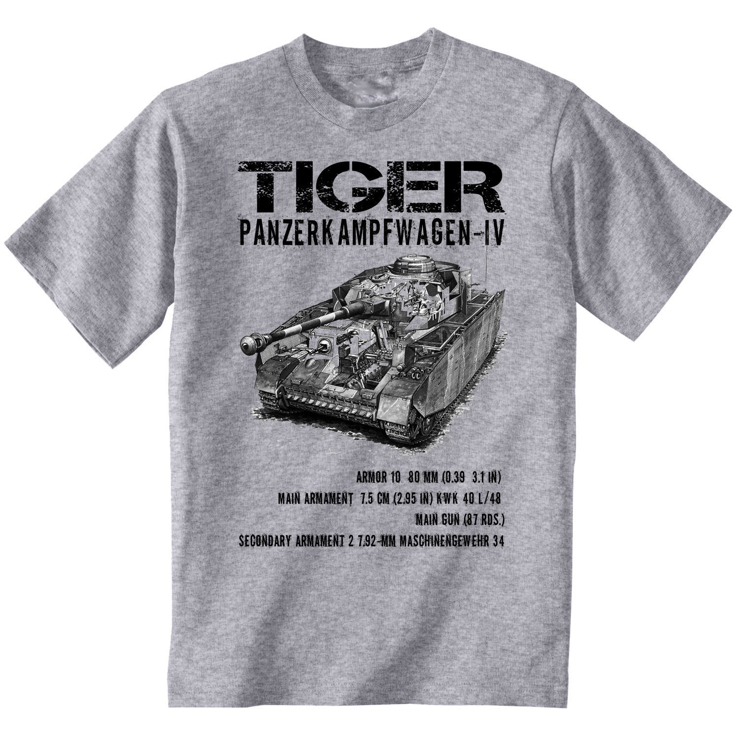 Primary image for TIGER PANZER IV WWII TANK 1 - NEW GRAPHIC GREY TSHIRT- S-M-L-XL-XXL