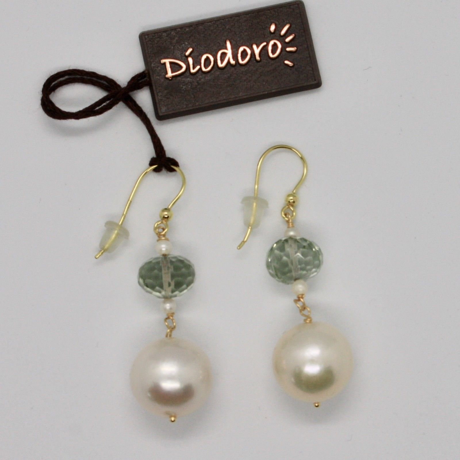 SOLID 18K YELLOW GOLD EARRINGS WITH WHITE PEARLS AND PRASIOLITE MADE IN ITALY