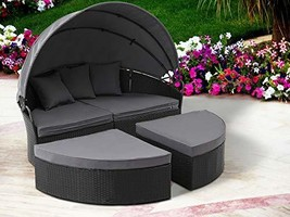 Oakmont Patio Furniture Outdoor Daybed Round Sofas with Canopy, Black Wi... - €574,14 EUR