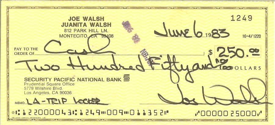 Primary image for joe walsh signed check autograph james gang the eagles musicain songwriter guita