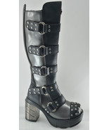 Sinister 302 Goth Punk Chrome Block Heel Motorcycle Riding Knee Boot Studs - $176.95