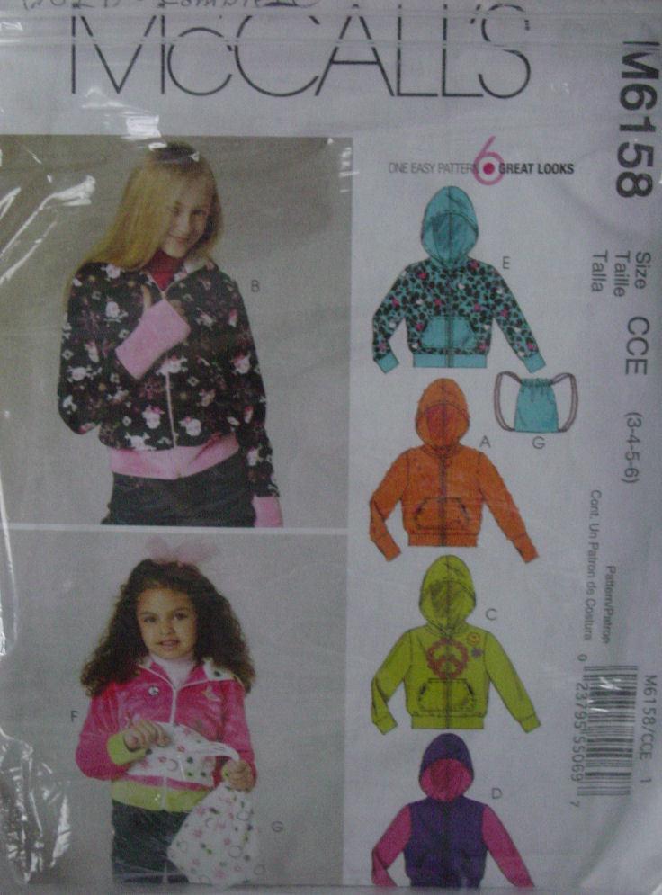 Pattern 6158  (used) Girl's Hoodie Jacket ,Tote Bag sz 3,4,5,6