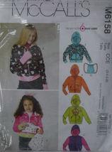 Pattern 6158  (used) Girl's Hoodie Jacket ,Tote Bag sz 3,4,5,6 - $5.00