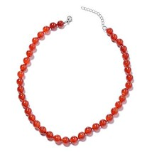Shop LC Delivering Joy Stainless Steel Carnelian Beaded Necklace for Wom... - $15.09