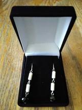 Vintage Black and White Bead Dangle Drop Earrings - $9.99