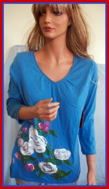 NEW L WRANGLER 12 14 BLUE SILVER ROSE GREEN WOMEN TEE T TUNIC PULLOVER TOP SHIRT