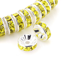 100 Pcs Silver Plated Crystal Rondelle Spacer Beads 10mm. Style - Citrine - $24.95