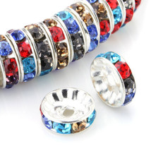 100 Pcs Silver Plated Crystal Rondelle Spacer Beads 10mm. Style - Multicolor - $24.95