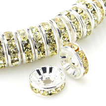 100 Pcs Silver Plated Crystal Rondelle Spacer Beads 10mm. Style - Jonquil - $24.95