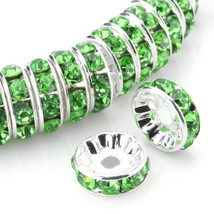 100 Pcs Silver Plated Crystal Rondelle Spacer Beads 10mm. Style - Peridot - $24.95