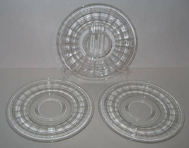 """3 Hocking Banded Ring 8.25"""" Luncheon Plates Clear Crystal Depression Glass - $9.50"""