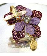 Vintage Religious Medal  Brooch Purple Flower Enamel Dragonfly Pin - $14.00