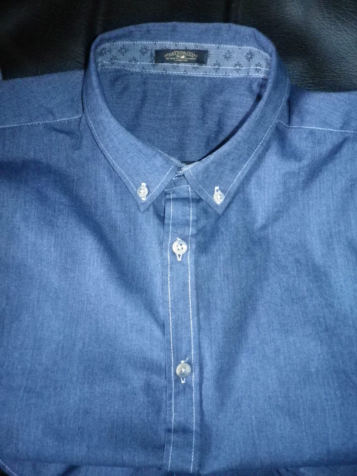 Primary image for Mens button down casual shirt, denim  blue, pre washed fabric , great value