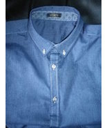 Mens button down casual shirt, denim  blue, pre washed fabric , great value - $29.50