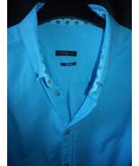 Mens casual button down shirt, aqua marine  contrast collar and cuffs,te... - $29.50