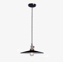 Pendant Light Fixture Industrial Style w Black Porcelain Enamel 14 in Shade Lamp - $68.95