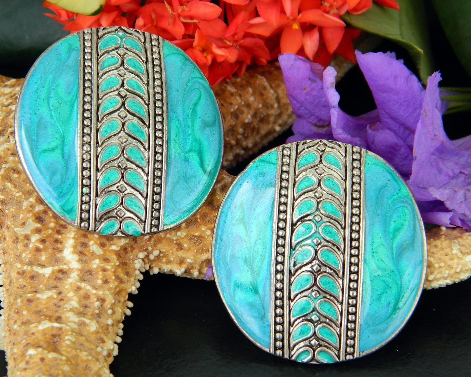 Vintage Edgar Berebi Earrings Turquoise Enamel Round Disc Pierced