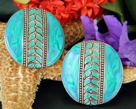 Vintage Edgar Berebi Earrings Turquoise Enamel Round Disc Pierced  - $16.95
