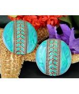 Vintage edgar berebi earrings turquoise enamel round disc pierced thumbtall