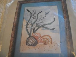 Scallop Shell Cross Stitch Kit: Comes with Aida, Floss, Graph & Directions - $12.00